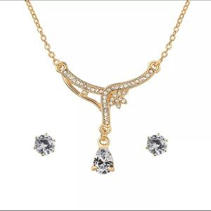 Party Crystal Rhinestone Necklace and Earrings